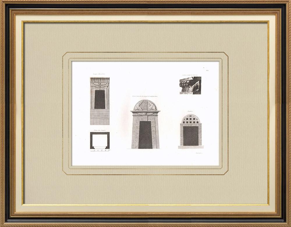 Grabados & Dibujos Antiguos | Arquitectura de Egipto - Templo - Puerta - Ventana (Egipto) | Grabado calcográfico | 1830