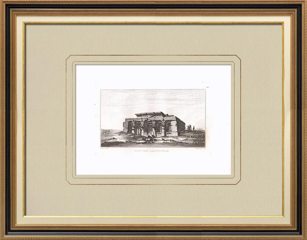 Oude Prenten & Tekeningen | Tempel van Contra-latopolis in Esnèh (Egypte) | Kopergravure | 1830