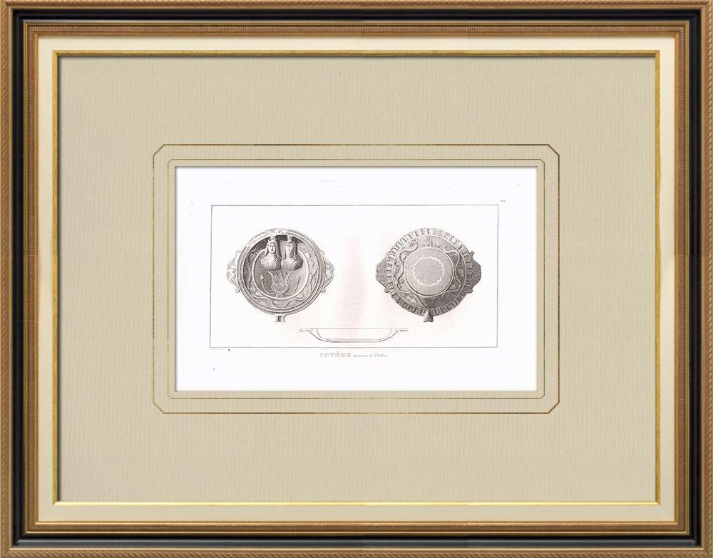 Oude Prenten & Tekeningen | Patera Gevonden in Thebe - Isis en Osiris (Egypte) | Kopergravure | 1830