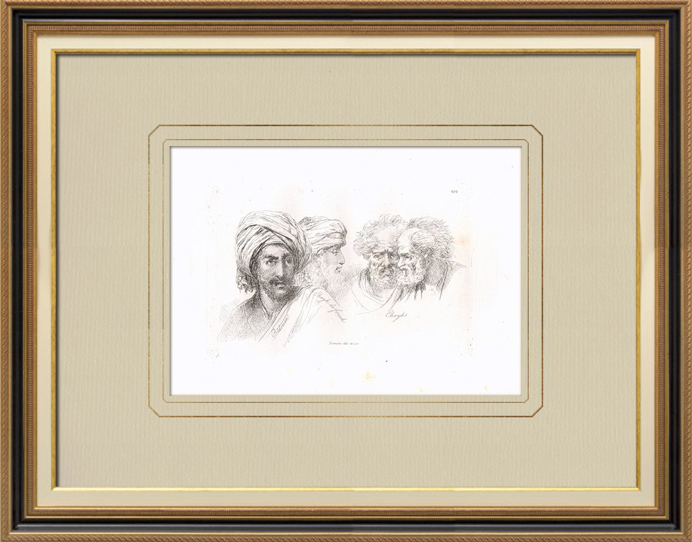 Antique Prints & Drawings | Arabian portraits - Bedouin - Sheikhs (Egypt) | Copper engraving | 1830