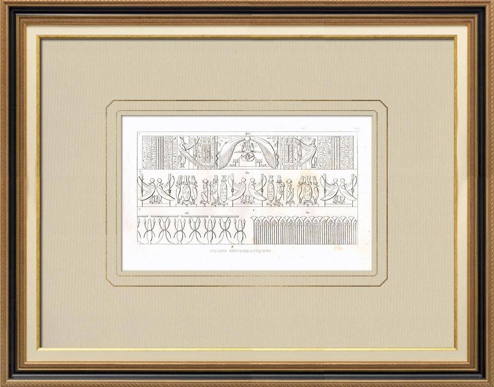 Stare Grafiki & Rysunki | Fryzy - Sztuka Starożytnego Egiptu (Egipt) | Miedzioryt | 1830