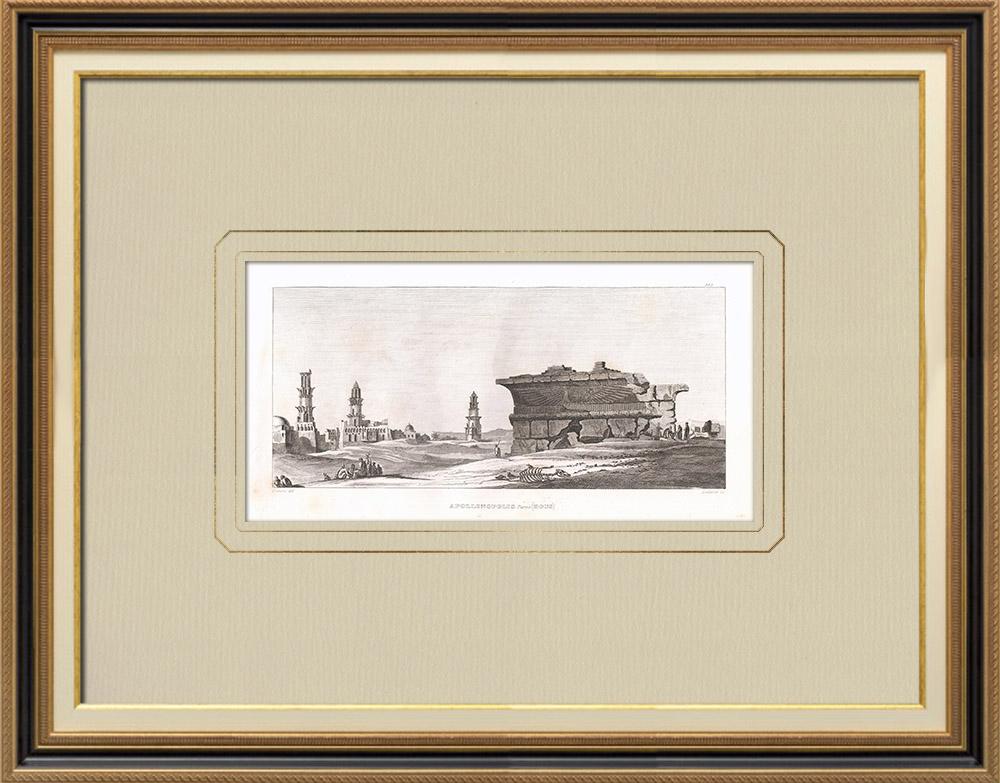 Antika Tryck & Ritningar | Vy över Apollinopolis Parva - Kousa - Nilen (Egypten) | Kopparstick | 1830