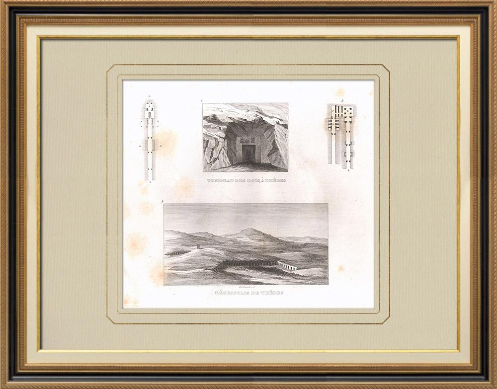 Grabados & Dibujos Antiguos | Tebas - Valle de los Reyes - Necrópolis (Egipto) | Grabado calcográfico | 1830