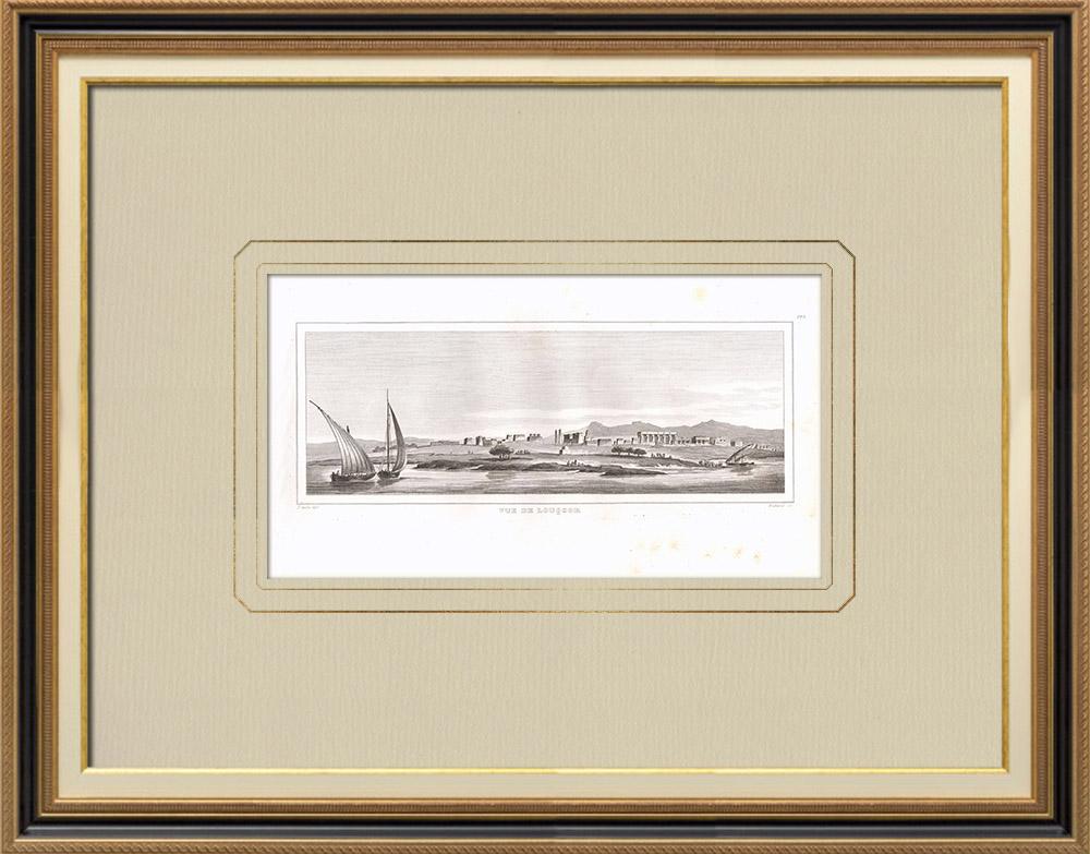 Grabados & Dibujos Antiguos | Vista de Luxor (Egipto) | Grabado calcográfico | 1830