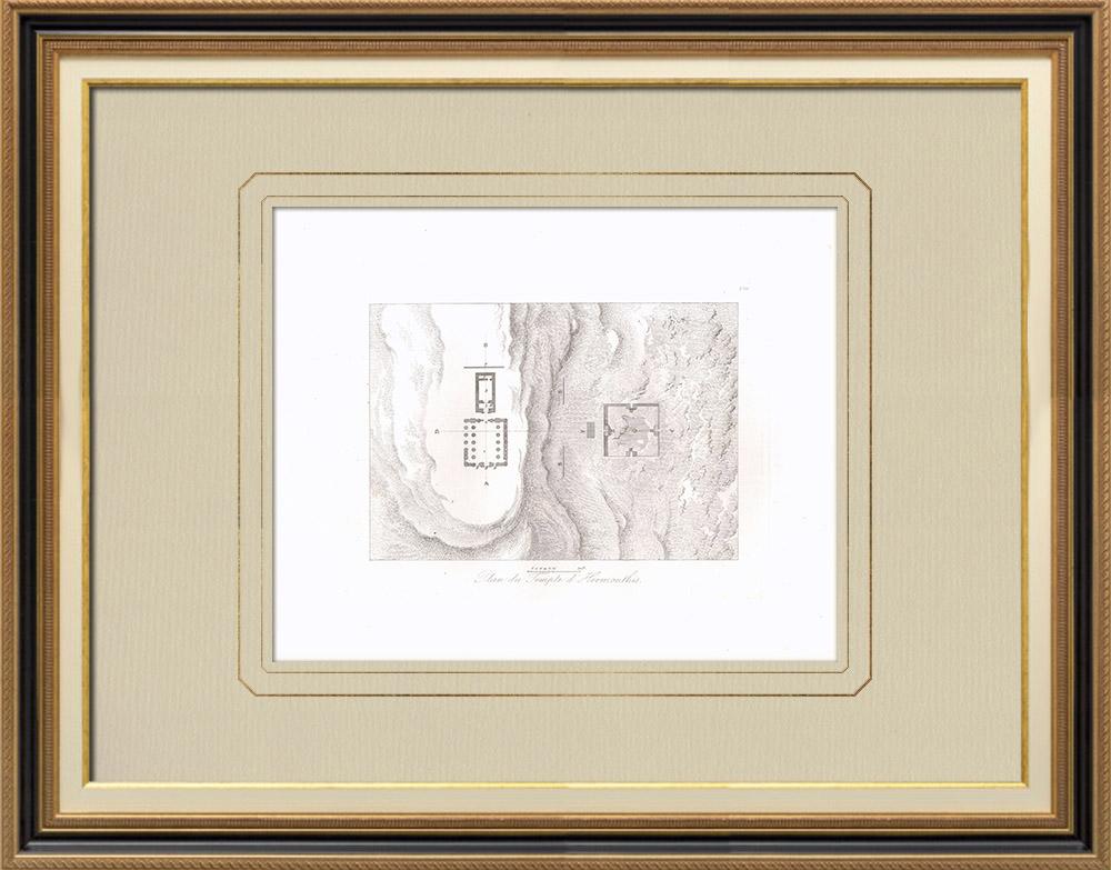Oude Prenten & Tekeningen | Kaart van de Tempel van Hermonthis (Egypte) | Kopergravure | 1830
