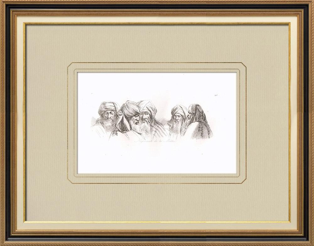 Gravuras Antigas & Desenhos | Retratos dos mercadores de Meca | Gravura em buril sobre cobre | 1830