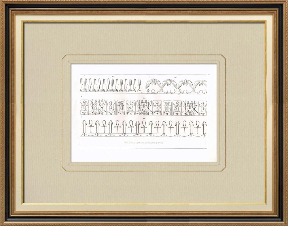 Gravures Anciennes & Dessins | Frises emblématiques - Art de l'Egypte antique (Egypte) | Gravure sur cuivre | 1830