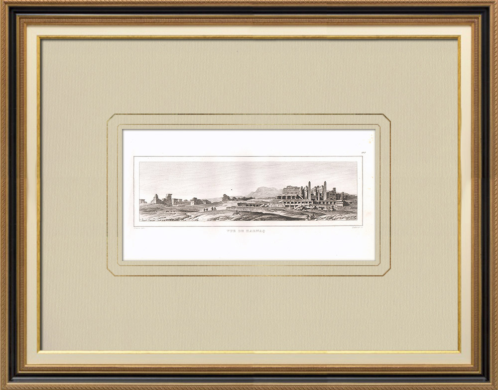 Antique Prints & Drawings | View of Karnak - Luxor (Egypt) | Copper engraving | 1830