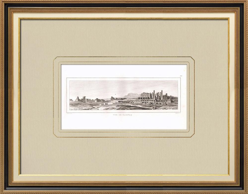 Gravuras Antigas & Desenhos | Vista de Karnak - Luxor (Egito) | Gravura em buril sobre cobre | 1830