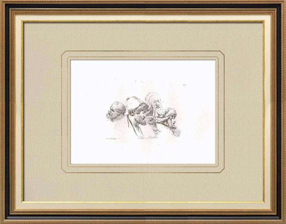 Gravures Anciennes & Dessins | Portraits d'Arabes (Egypte) | Gravure sur cuivre | 1830