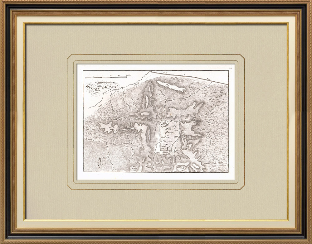 Gravuras Antigas & Desenhos | Mapa das ruínas de Sân - Tanis (Egito) | Gravura em buril sobre cobre | 1830