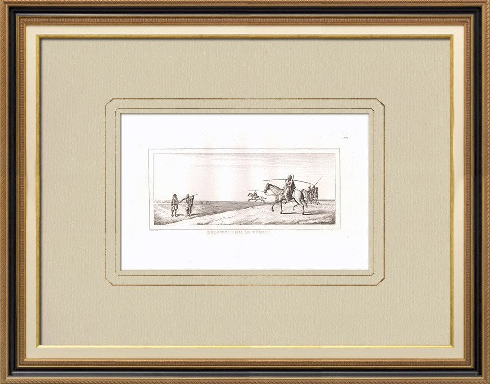 Antique Prints & Drawings | Bedouin camp in the desert (Egypt) | Copper engraving | 1830