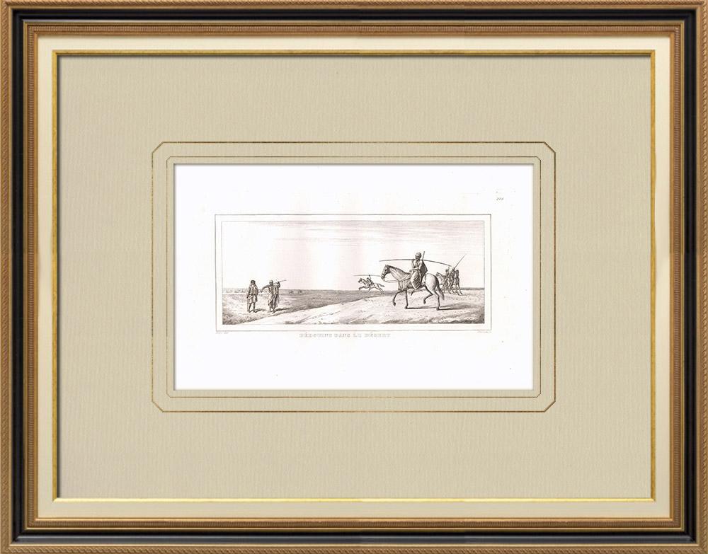 Stare Grafiki & Rysunki | Obóz Beduinów na Pustyni (Egipt) | Miedzioryt | 1830