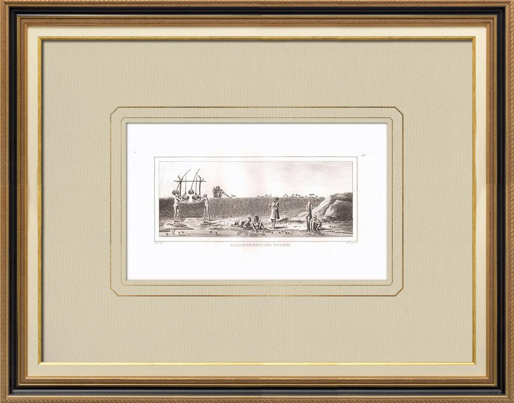 Gravures Anciennes & Dessins | Arrosage des terres (Egypte) | Gravure sur cuivre | 1830