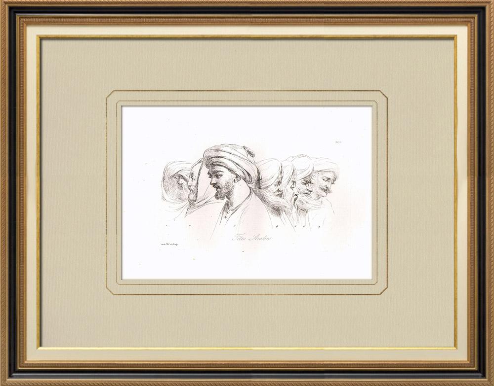 Stare Grafiki & Rysunki | Portrety Arabskie - Szejk - Kâchef - Mamluk (Egipt) | Miedzioryt | 1830