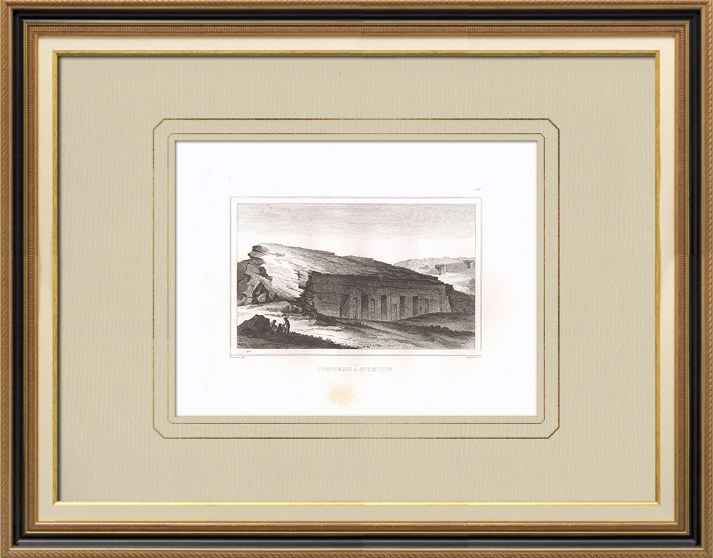 Antique Prints & Drawings | Grave in Silsilis (Egypt) | Copper engraving | 1830