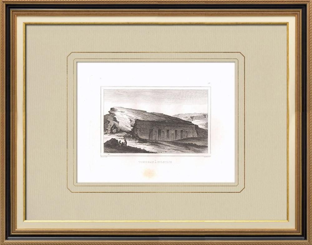 Antique Print & Etching | Grab in Silsilis (Ägypten) | Kupferstich | 1830
