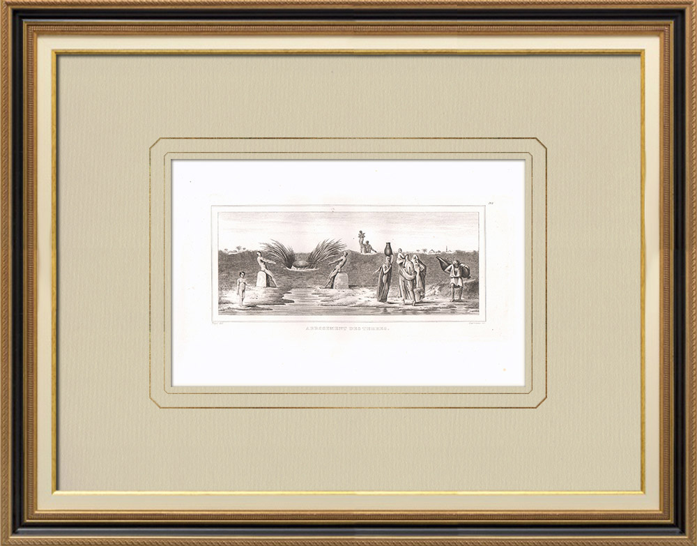 Antique Prints & Drawings | Land irrigation (Egypt) | Copper engraving | 1830