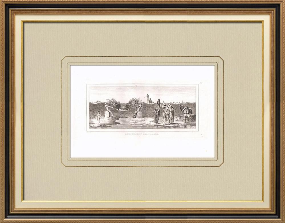 Antika Tryck & Ritningar | Vatten på land (Egypten) | Kopparstick | 1830