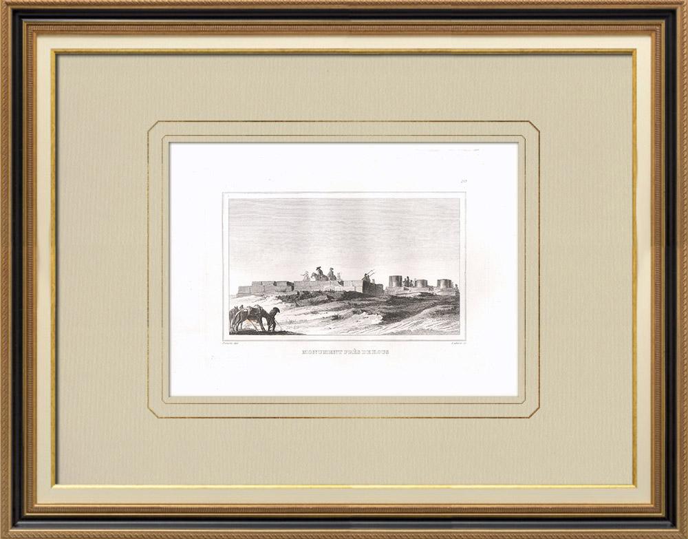 Gravuras Antigas & Desenhos | Vista de um monumento perto de Qus (Egito) | Gravura em buril sobre cobre | 1830
