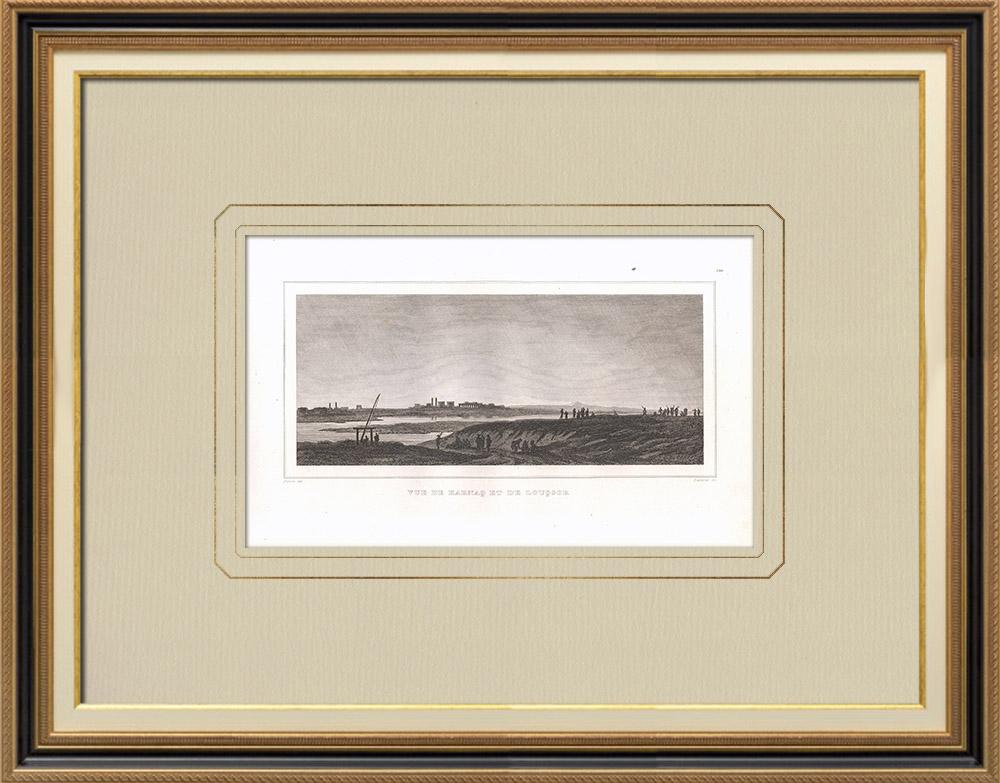 Grabados & Dibujos Antiguos | Vista de Karnak - Luxor al amanecer (Egipto) | Grabado calcográfico | 1830