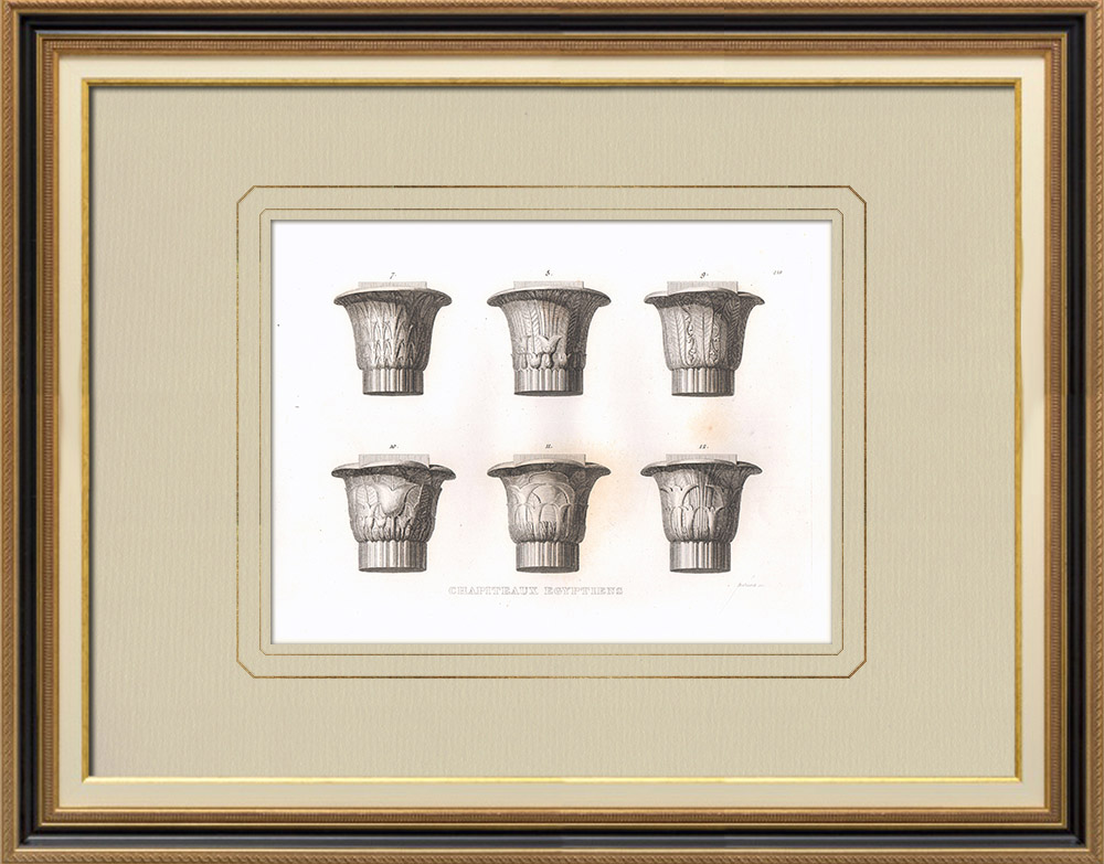 Gravuras Antigas & Desenhos | Capitéis egípcios - Antigo Egipto - Egito Antigo - Arquitetura (Egito) | Gravura em buril sobre cobre | 1830