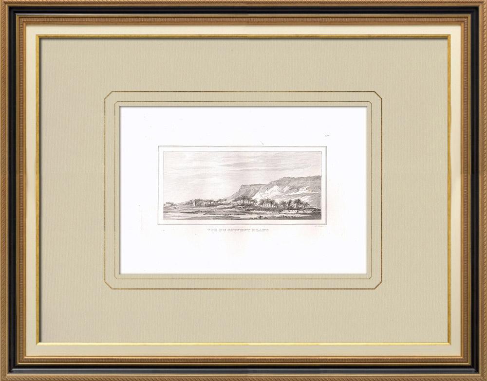Gravuras Antigas & Desenhos | Monastère blanc de São Scenute em Sohag (Egito) | Gravura em buril sobre cobre | 1830