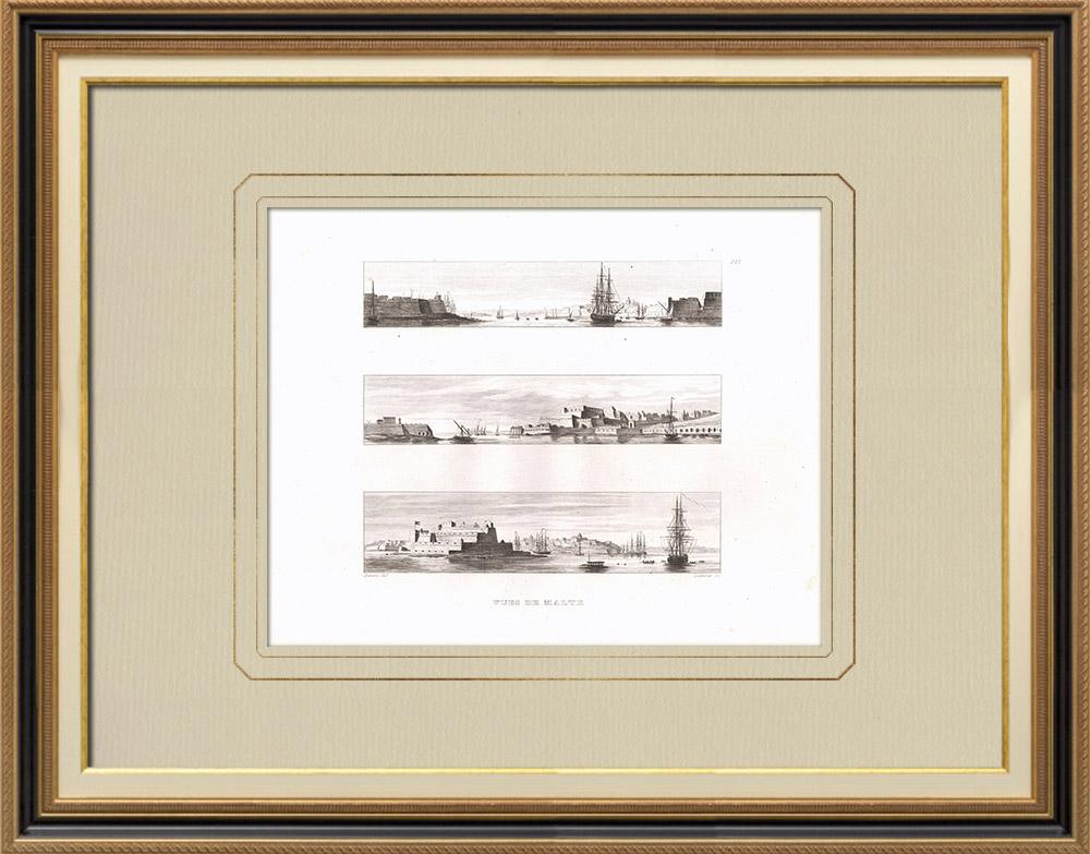 Grabados & Dibujos Antiguos | Vistas de Malta | Grabado calcográfico | 1830