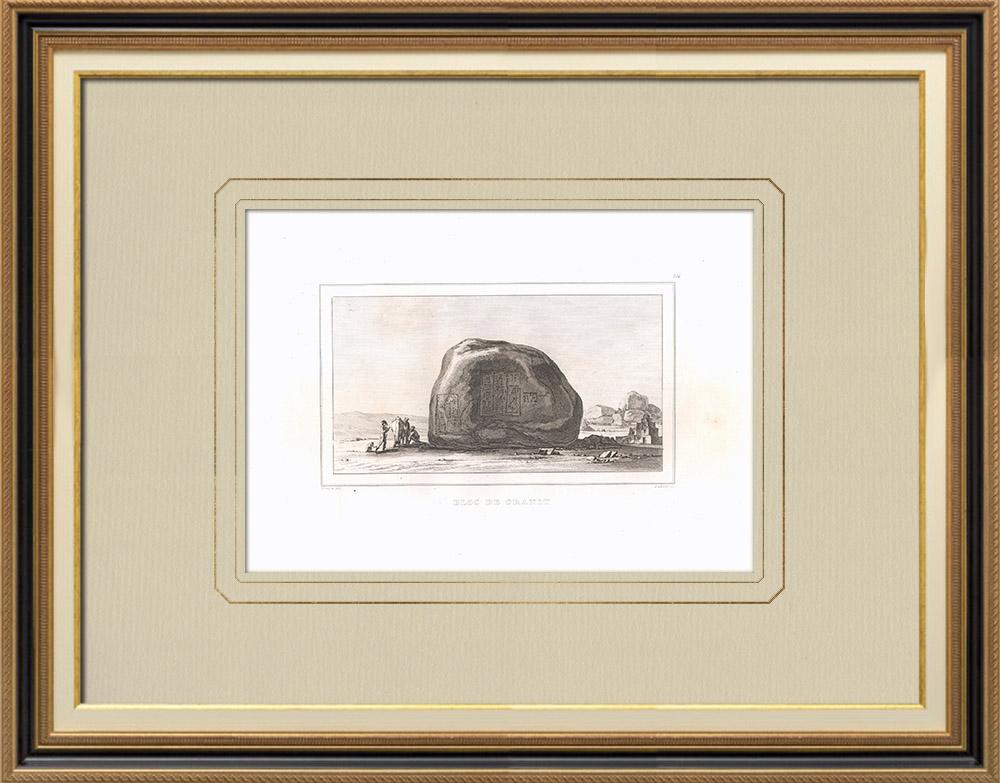 Gravuras Antigas & Desenhos | Granito perto Filas (Egito) | Gravura em buril sobre cobre | 1830