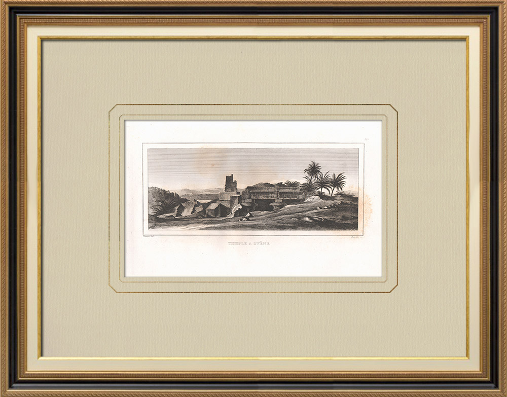 Antique Prints & Drawings | Temple in Aswan - Syene (Egypt) | Copper engraving | 1830