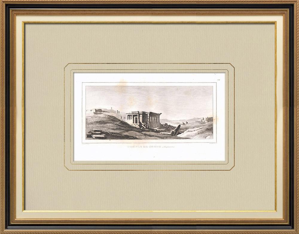 Stare Grafiki & Rysunki | świątynia Kneph - Hieroglify - Słoń (Egipt) | Miedzioryt | 1830