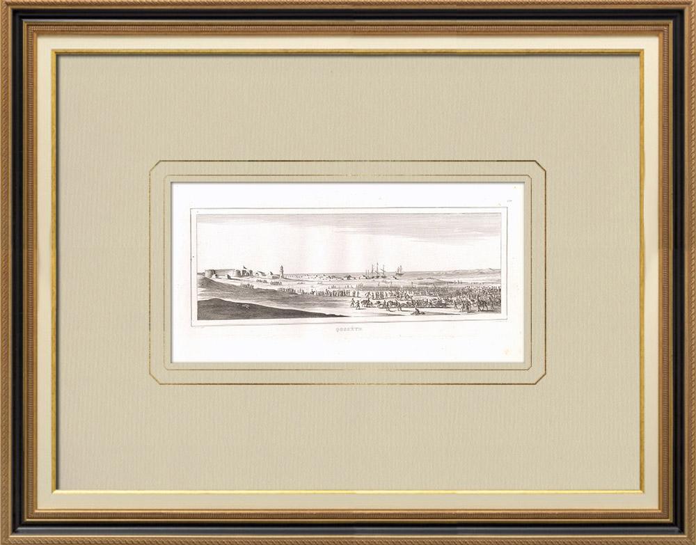 Gravures Anciennes & Dessins | Arrivée de l'armée française à Qosséïr - Campagne d'Egypte (Egypte) | Gravure sur cuivre | 1830