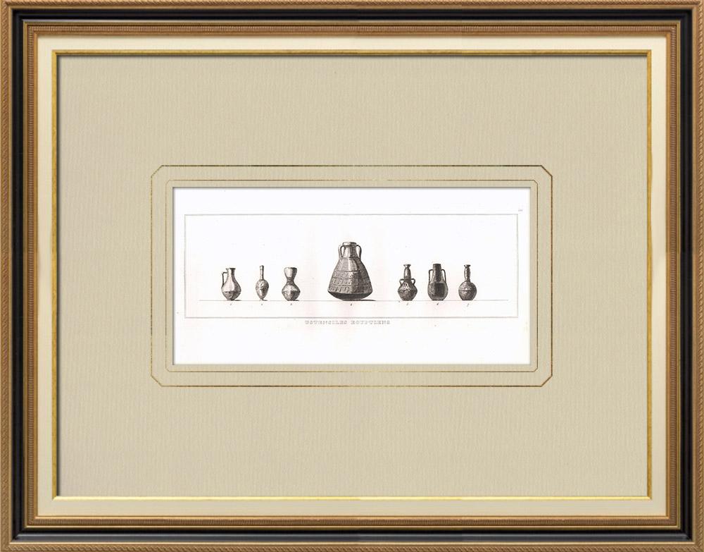 Oude Prenten & Tekeningen | Egyptisch Gebruiksvoorwerp - Egyptische Kunst - Servies (Egypte) | Kopergravure | 1830