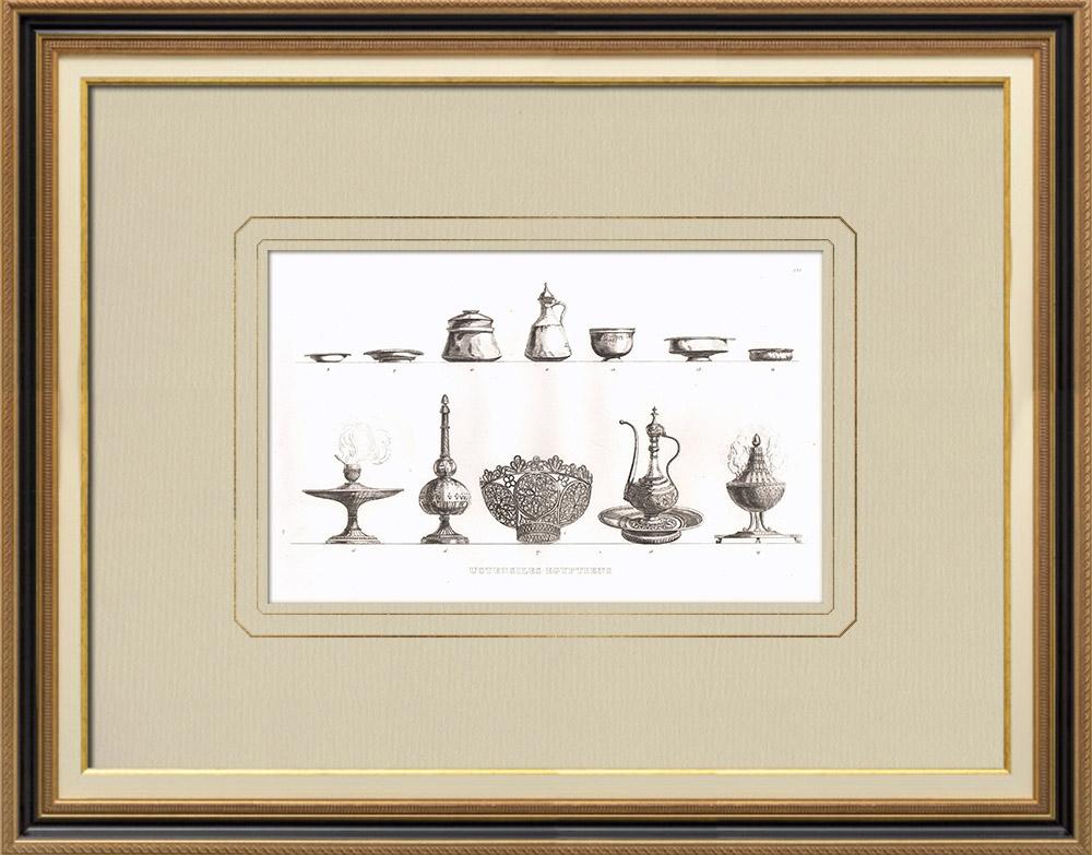 Grabados & Dibujos Antiguos | Utensilios egipcios - Arte egipcio - Vajilla (Egipto) | Grabado calcográfico | 1830