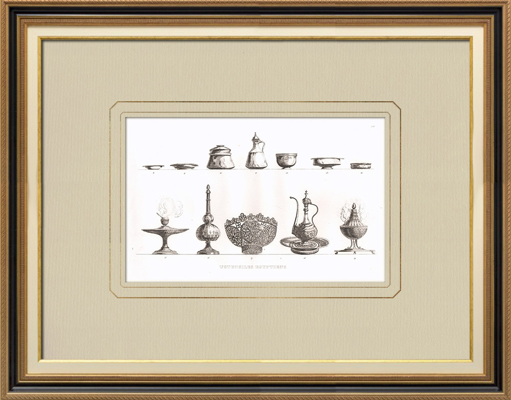 Antique Prints & Drawings | Egyptian utensils - Egyptian art - Dishes (Egypt) | Copper engraving | 1830