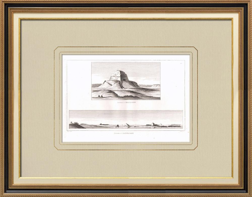 Grabados & Dibujos Antiguos | Pirámide de Meydoun - Pirámides de Saqqara (Egipto) | Grabado calcográfico | 1830
