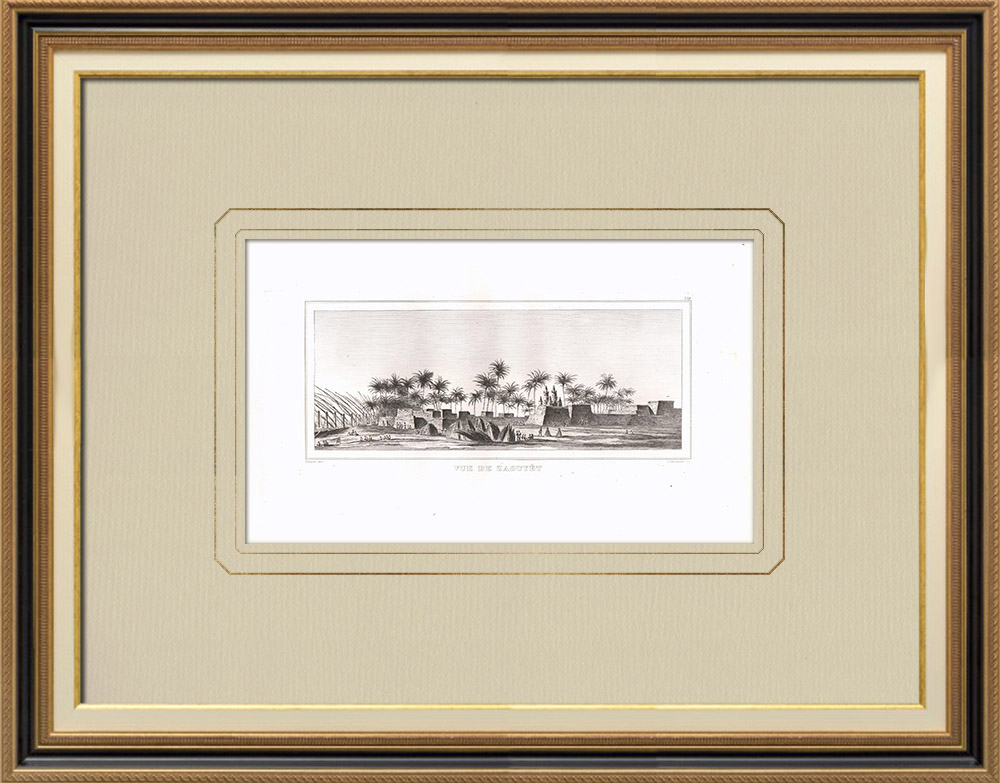 Antique Prints & Drawings | View of Zaouyét - Upper Egypt - Nile (Egypt) | Copper engraving | 1830