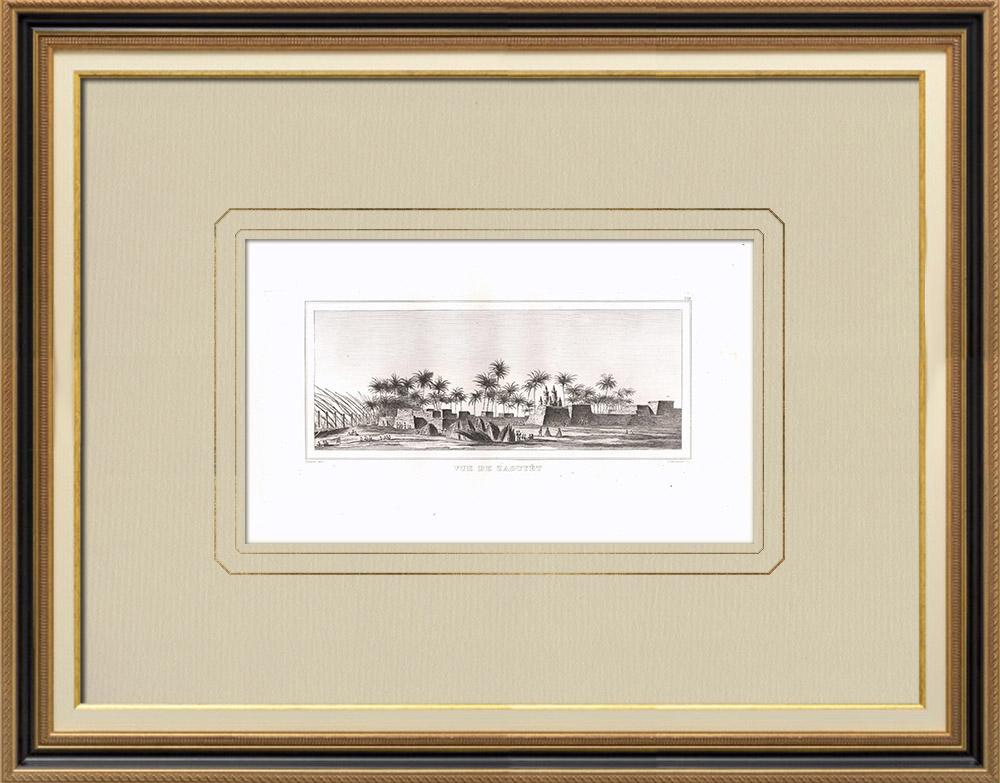 Stare Grafiki & Rysunki | Widok Zaouyét - Górny Egipt - Nil (Egipt) | Miedzioryt | 1830