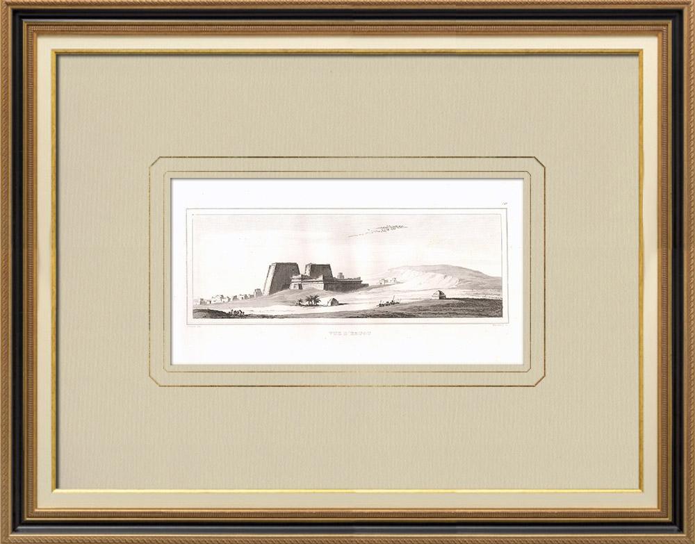 Antika Tryck & Ritningar | Vy över Edfu (Egypten) | Kopparstick | 1830