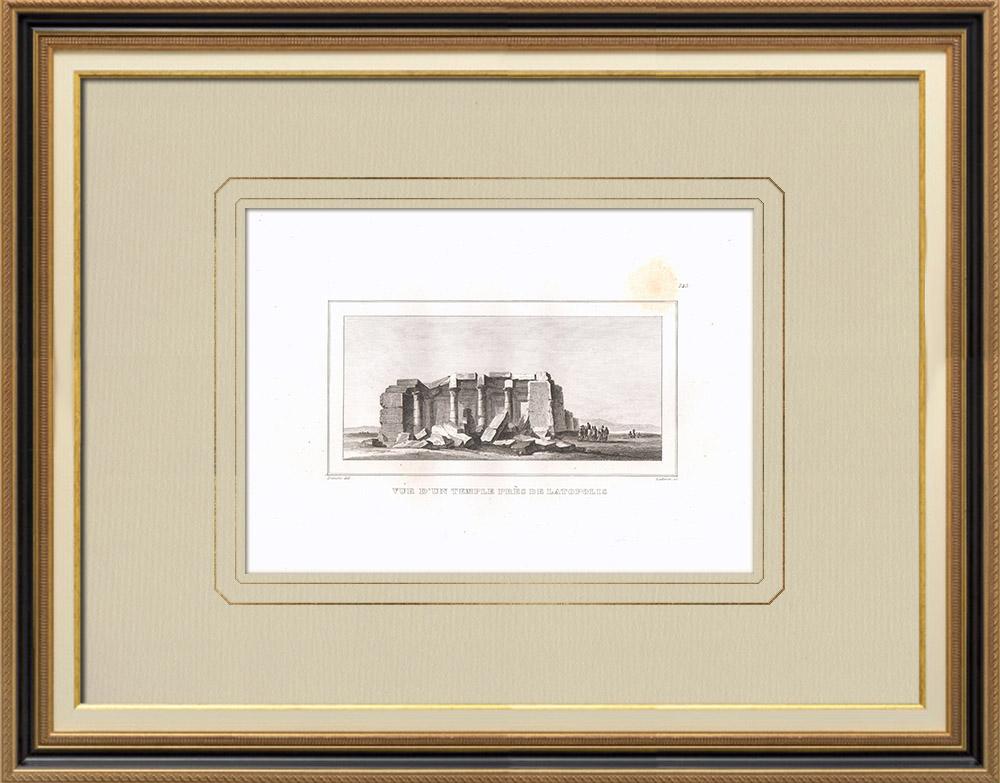 Stare Grafiki & Rysunki   świątynia Latopolis (Egipt)   Miedzioryt   1830