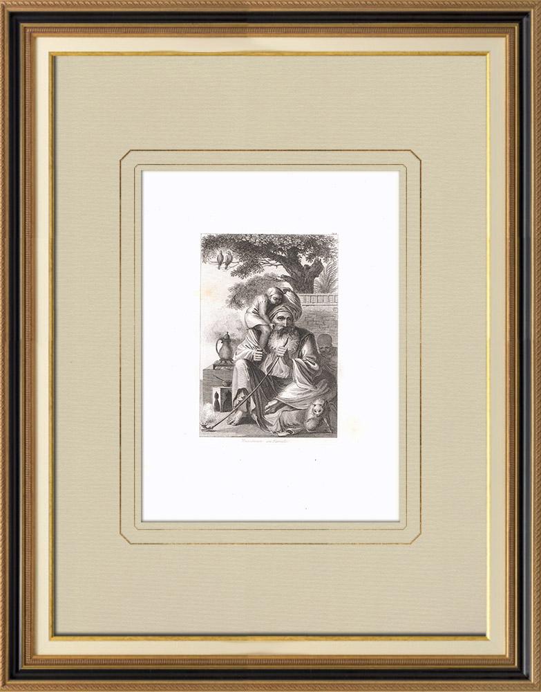 Gravures Anciennes & Dessins | Un musulman en famille (Egypte) | Gravure sur cuivre | 1830
