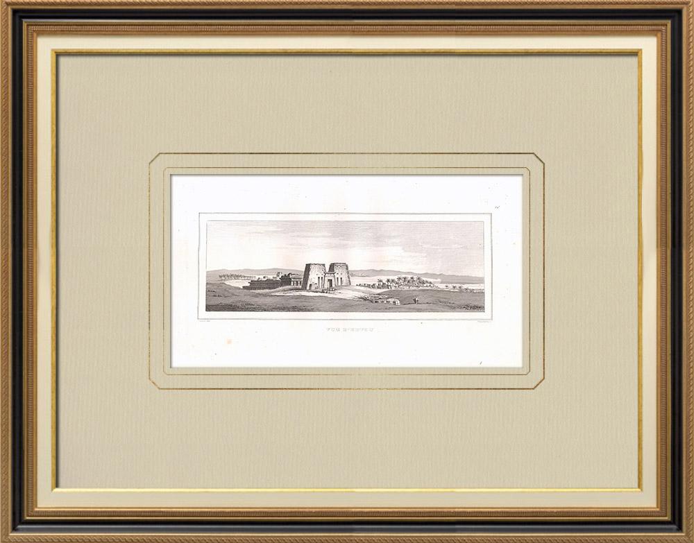 Antique Print & Etching | Ansicht von Edfu (Ägypten) | Kupferstich | 1830