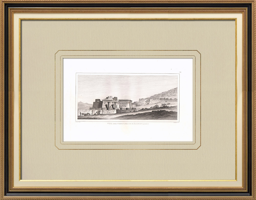 Antique Prints & Drawings | Temples of Medynet-Abou in Thebes (Egypt) | Copper engraving | 1830