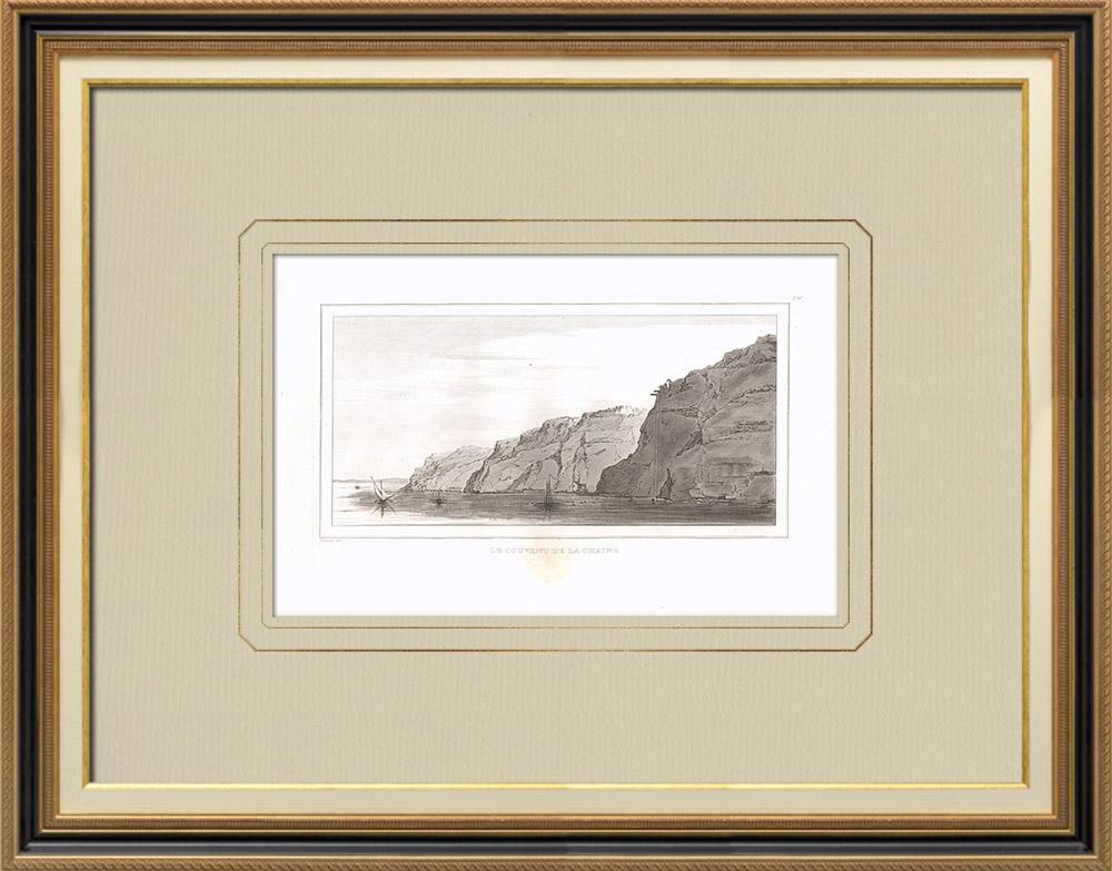 Gravuras Antigas & Desenhos | Convento Deyr el-Bakarah - Gebel el-Teïr (Egito) | Gravura em buril sobre cobre | 1830