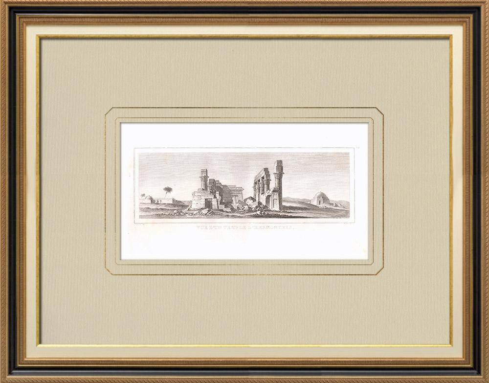 Gravuras Antigas & Desenhos | Templo de Hermonthis - Deus Montu (Egito) | Gravura em buril sobre cobre | 1830