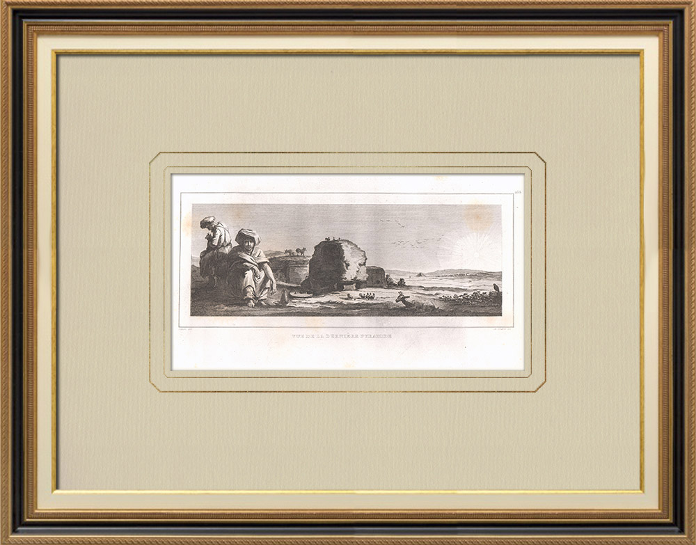 Antique Prints & Drawings | Pyramid of Ahmose - Cenotaph (Egypt) | Copper engraving | 1830