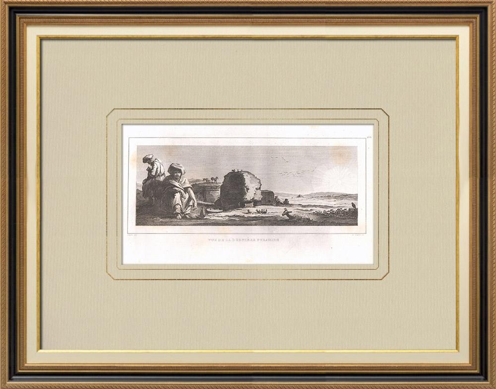 Gravuras Antigas & Desenhos | Pirâmide de Amosis - Cenotáfio (Egito) | Gravura em buril sobre cobre | 1830