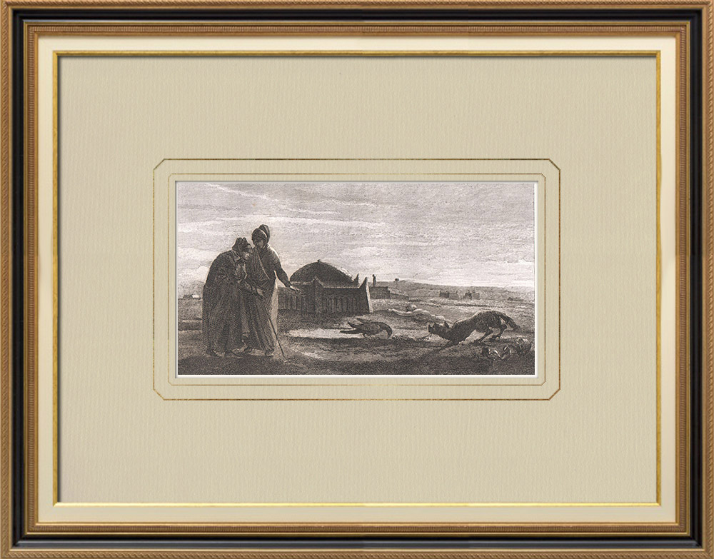 Antika Tryck & Ritningar | Nattscen under den egyptiska kampanjen (Egypten) | Kopparstick | 1830