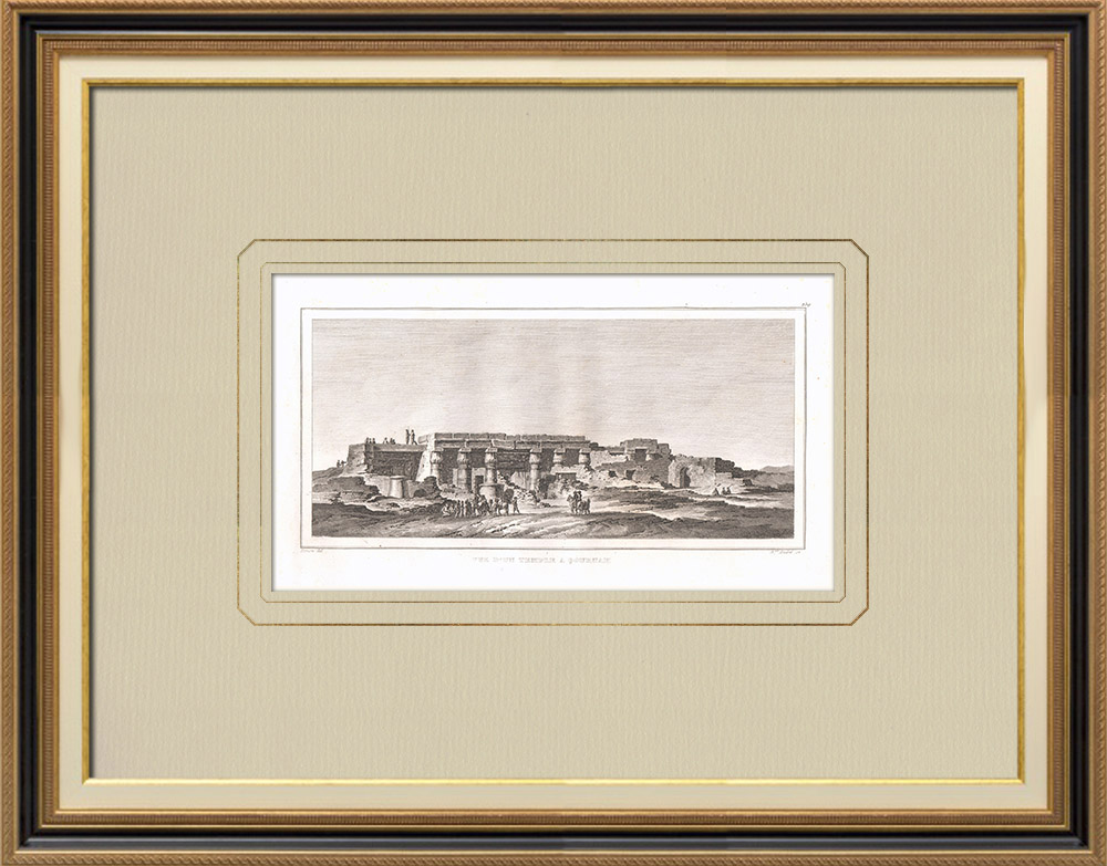 Grabados & Dibujos Antiguos   Vista de un templo en Qournah - Kurna (Egipto)   Grabado calcográfico   1830