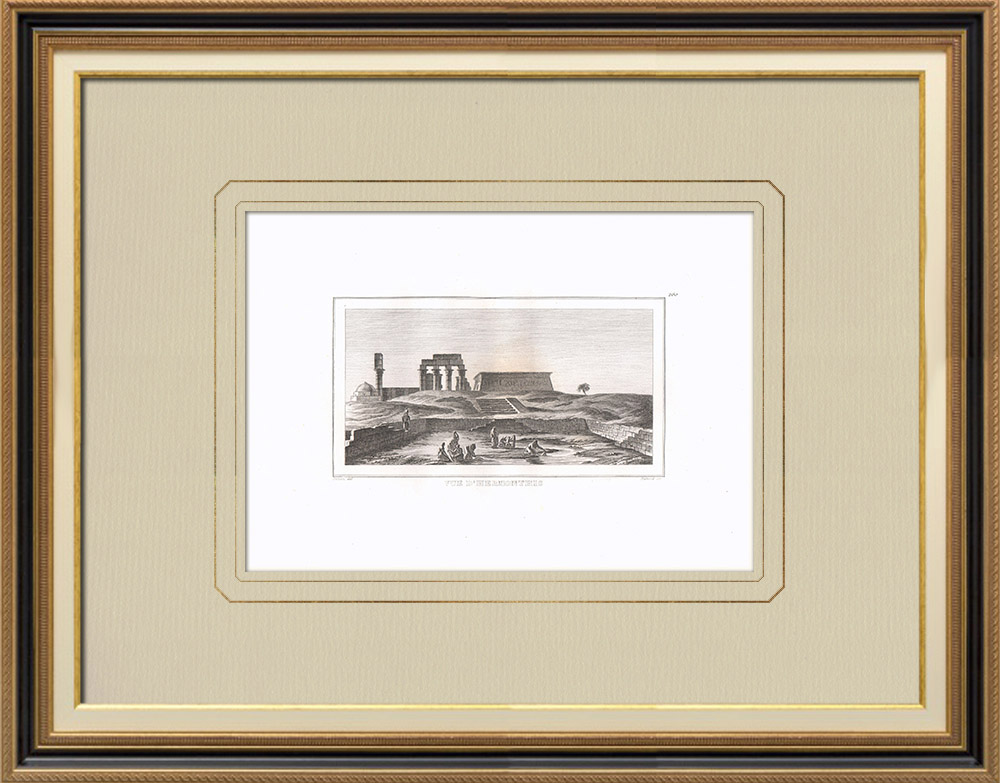 Gravures Anciennes & Dessins | Vue d'Hermonthis - Temple - Dieu Montou (Egypte) | Gravure sur cuivre | 1830